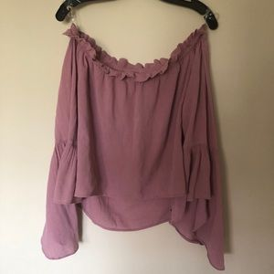 Off the shoulder pink blouse